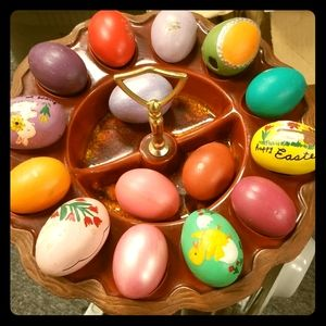 Vintage deviled eggs platter with ceramic eggs